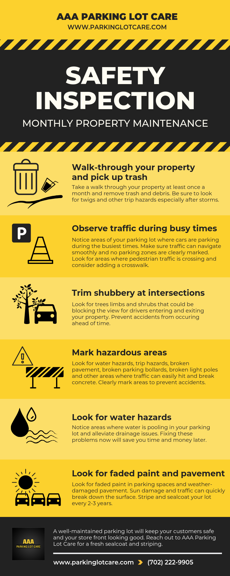 Parking Lot Safety Monthly Maintenance Checklist